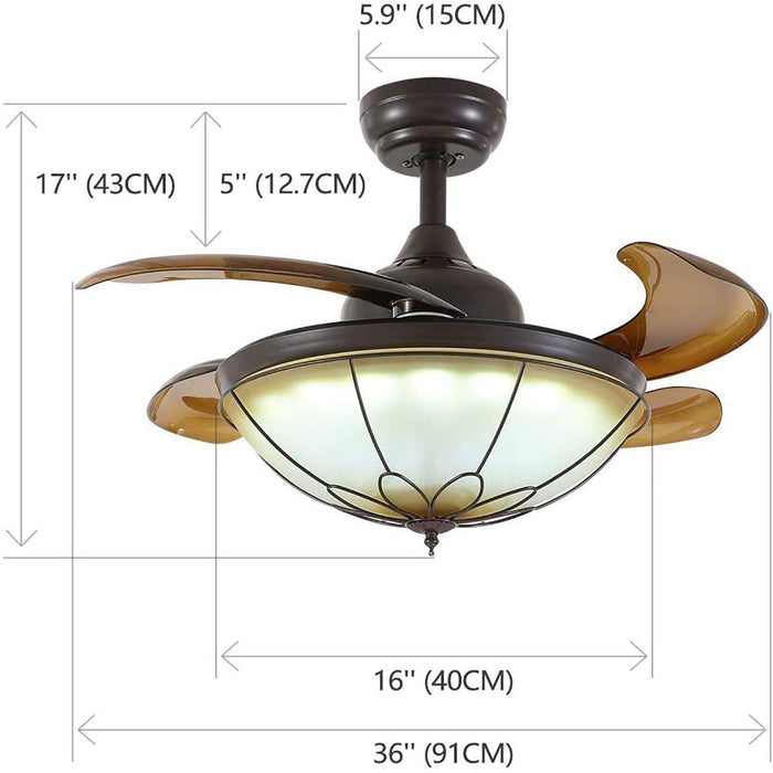 Retractable Simple Chandelier Ceiling Fan with Dimmable Lights - 7PM LIGHTING