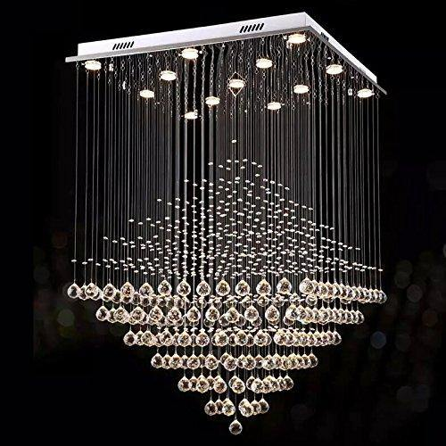 7PM Square Diamond Modern LED K9 Crystal Chandelier Beautiful Diamond design, sparkles from every angle