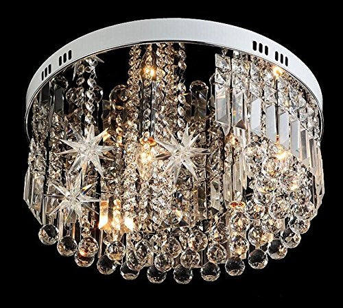 7PM Round Star Crystal Rain Drop Chandelier