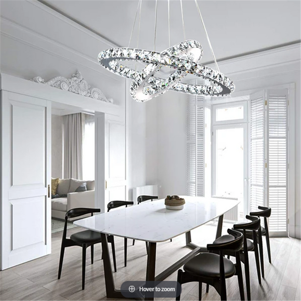 Contemporary Multiple Rings Galaxy Crystal Chandelier