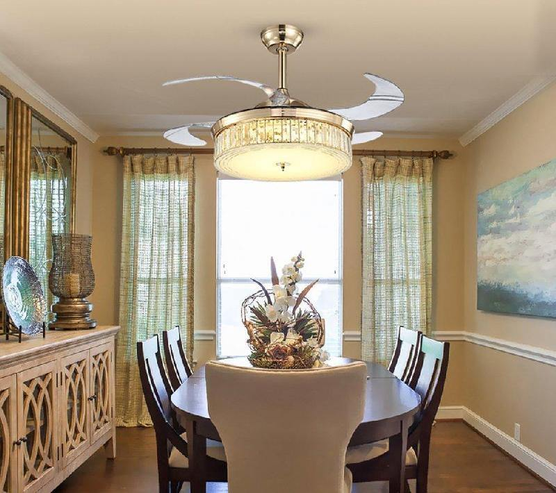 7PM Retractable Ceiling Fans 42 Inch Crystal Invisible Chandelier Fan