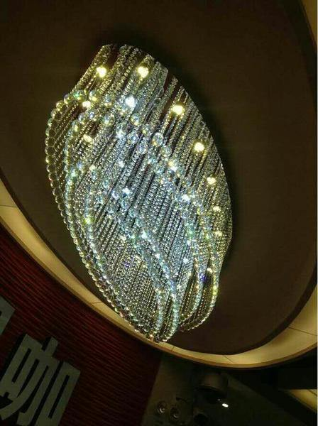 7PM Modern Rain Drop Oval Clear K9 Crystal Chandelier Ceiling Lamp Lighting Fixture 10 Lights for Dining Living Bedroom Room - 7PM LIGHTING