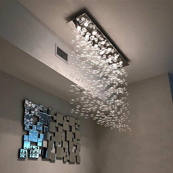 Rectangle Bubble Chandelier Flush Mount Ceiling Light