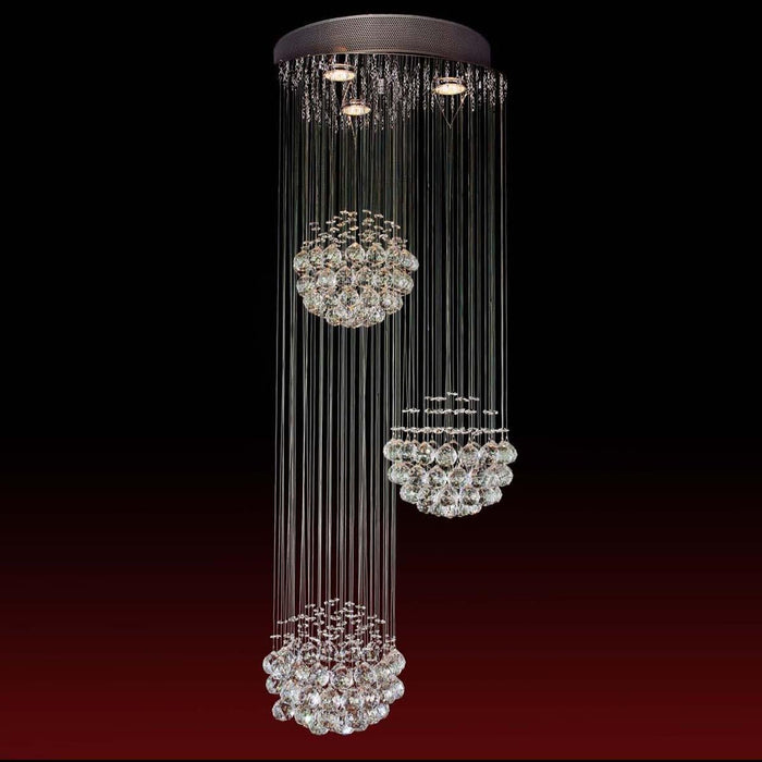 7PM Modern Rectangle 3 Sphere Rain Drop Clear K9 Crystal Chandelier - 7PM LIGHTING