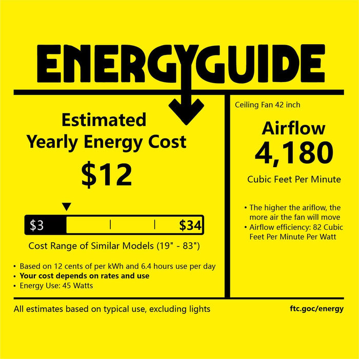 7PM Ceiling Fan 42 inch Energy Guide