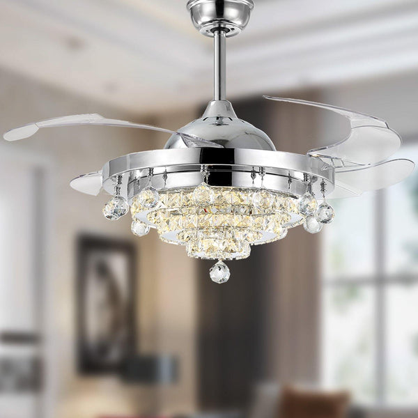 "Retractable Crystal Ceiling Fan with Lights, 42"" Chrome"