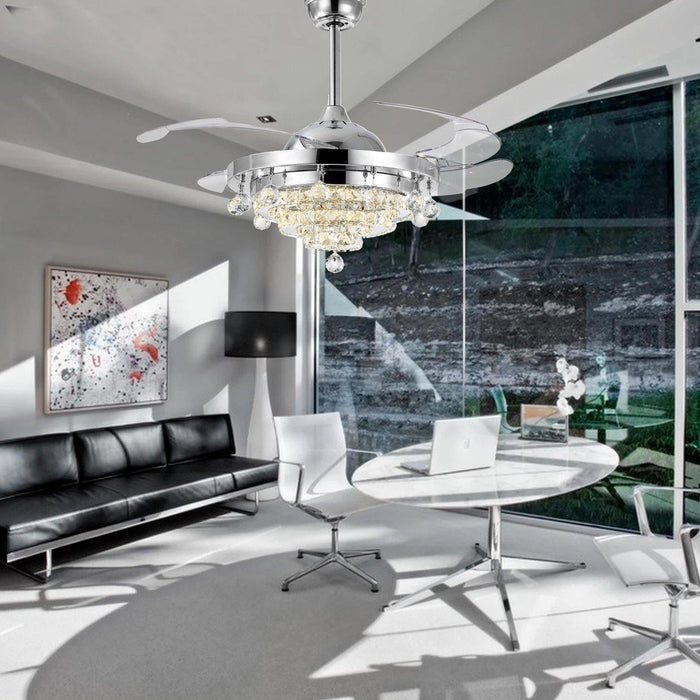 "Retractable Crystal Ceiling Fan with Lights, 42"" Chrome - Living room"