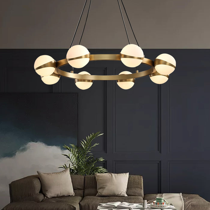 Ball and Ring Brass Chandelier
