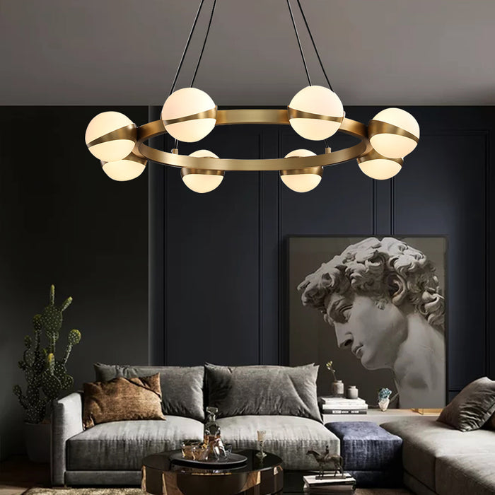Ball and Ring Brass Pendant Light