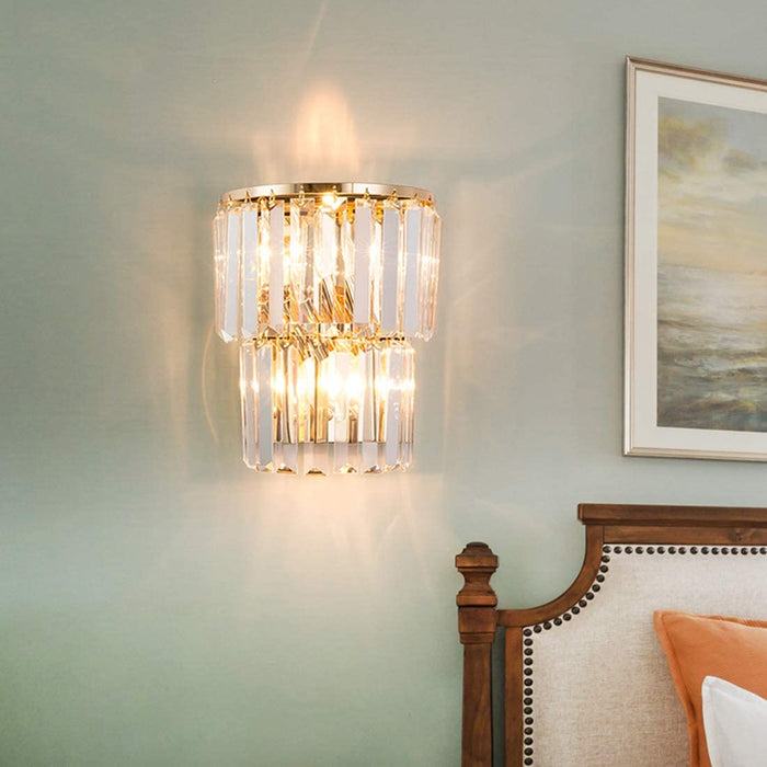 Bedsides Gold Crystal Wall Sconce 7PM LIGHTING