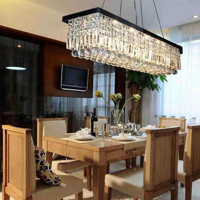 Black Finish Rectangular Raindrop Crystal Chandelier