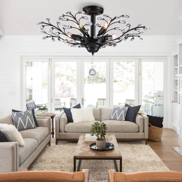 Branch Shaped Crystal Pendant Light