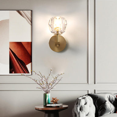 Brass Crystal Wall Sconce For Living Room