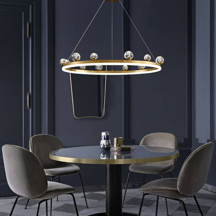 Brass Ring Chandelier For Dining Room