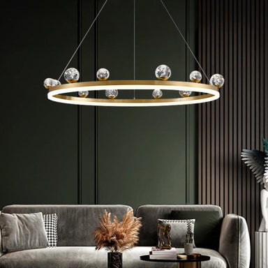 Brass Ring Pendant Light Sputnik Crystal Ball