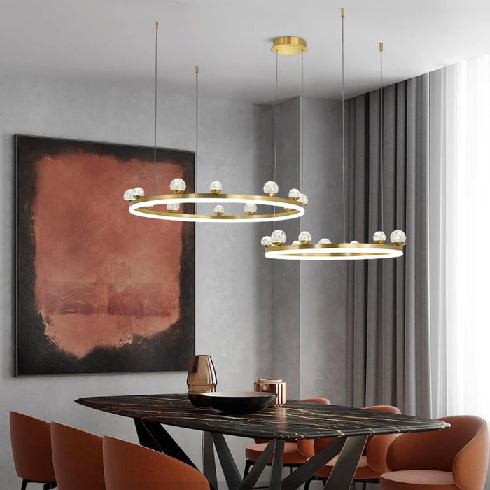 Brass Ring Suspension Light 2 Rings
