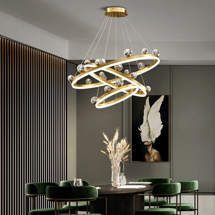 Brass Ring Suspension Light 3 Rings
