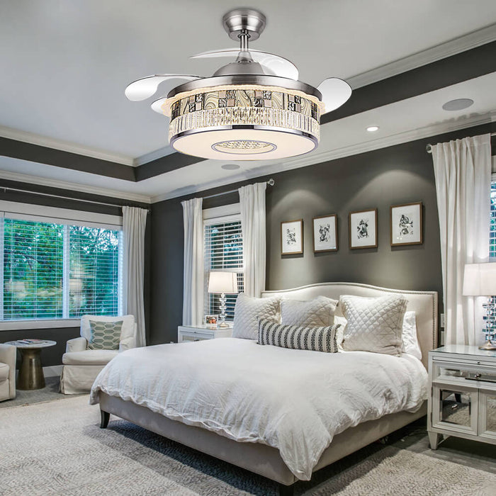 Chandelier Fan With Retractable Blades For Bedroom