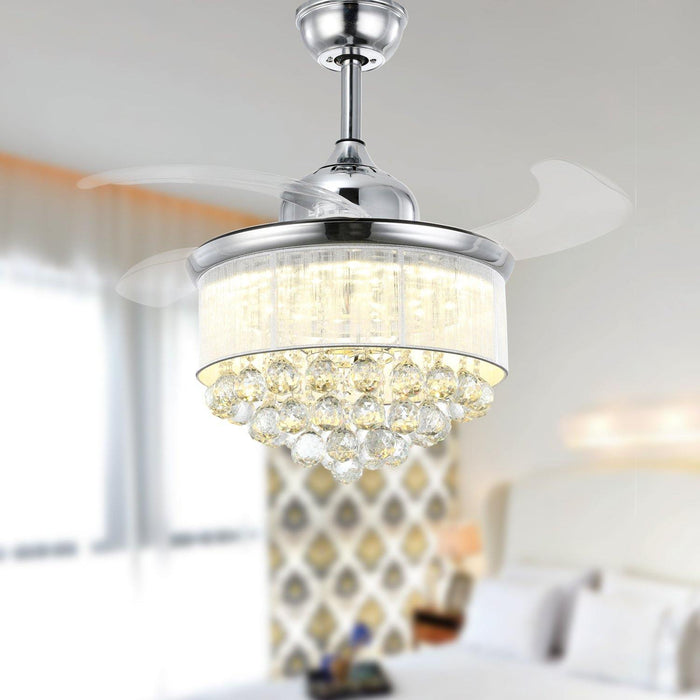 "Chandelier Fan with Dimmable Lights Crystal Fandelier, 36"" Chrome"