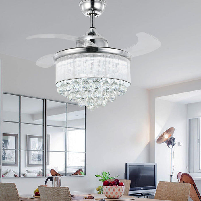 "Chandelier Fan with Dimmable Lights Crystal Fandelier, 36"" Chrome - Dining room"