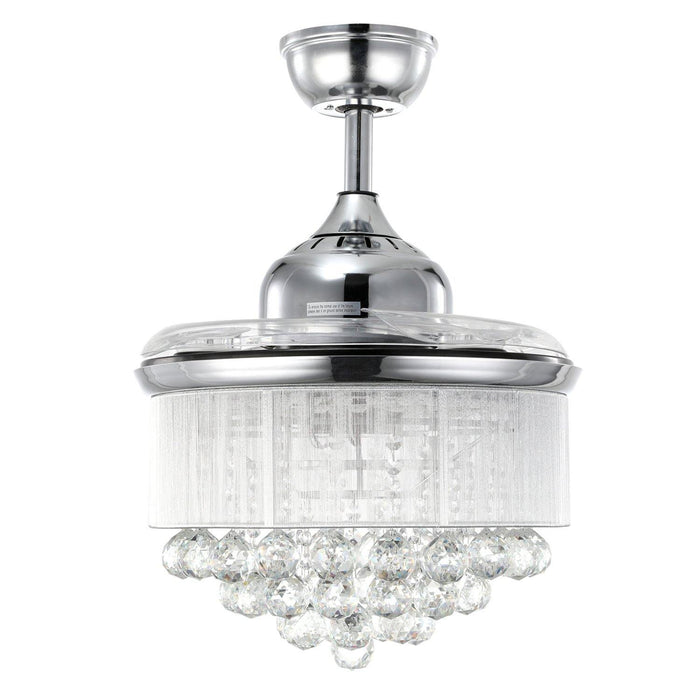 "Chandelier Fan with Dimmable Lights Crystal Fandelier, 36"" Chrome - Invisible Blades"