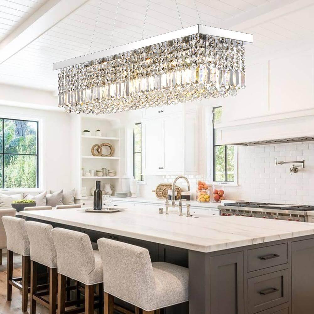 Modern Rectangle Raindrop Crystal Chandeliers Black Finish For Kitchen 7pm Lighting