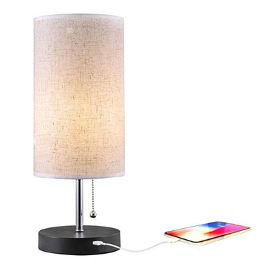 Cylinder Table Lamp with USB Charging Ports for Bedroom Nightstand