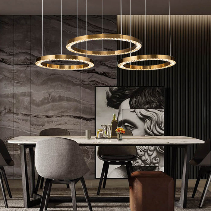 Contemporary Crystal Ring Pendant Light