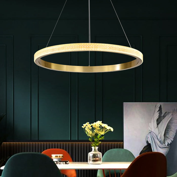 Contemporary Gold Round Pendant Light Single Ring
