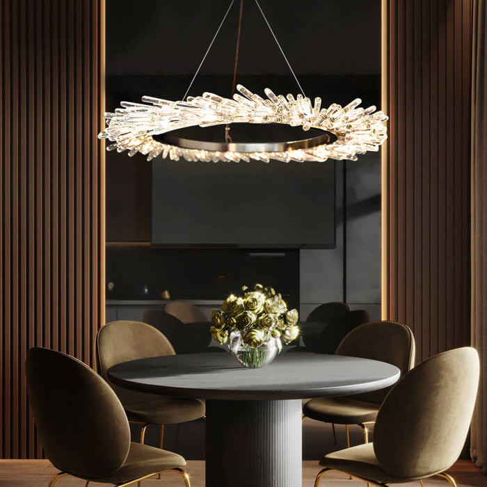 Contemporary Round Crystal Chandelier with LEDs