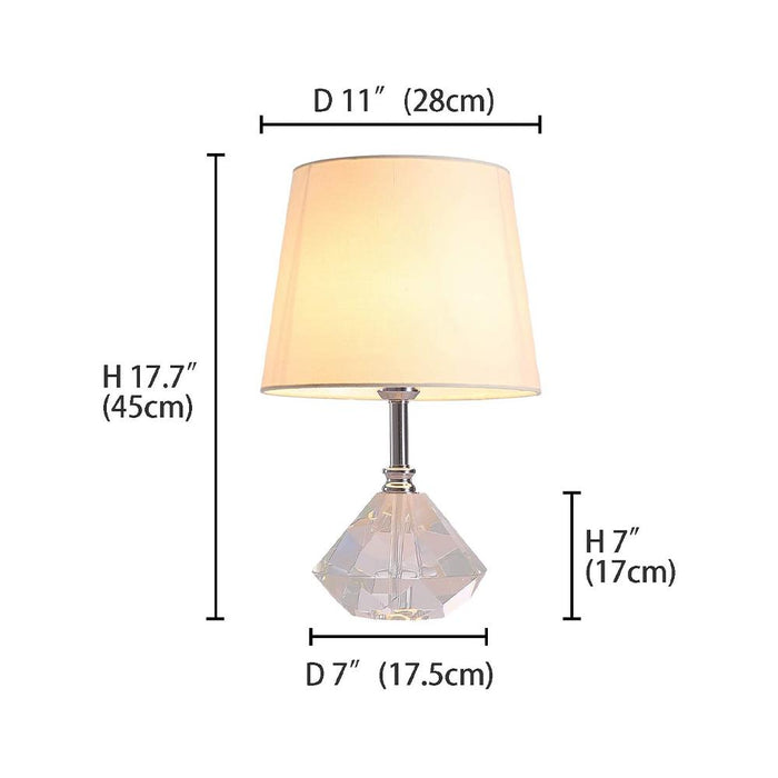Dimension For Crystal Bedside Table Lamp 7PM HOME