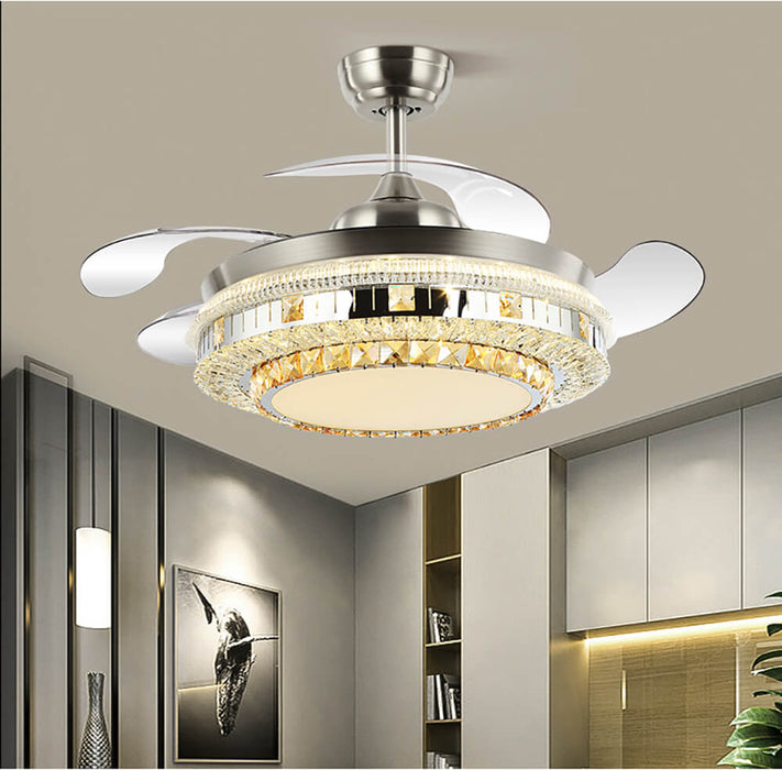 Crystal Ceiling Fan With Light