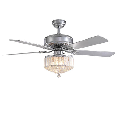 Crystal Ceiling Fan with Chrome-Plated Wood Blades