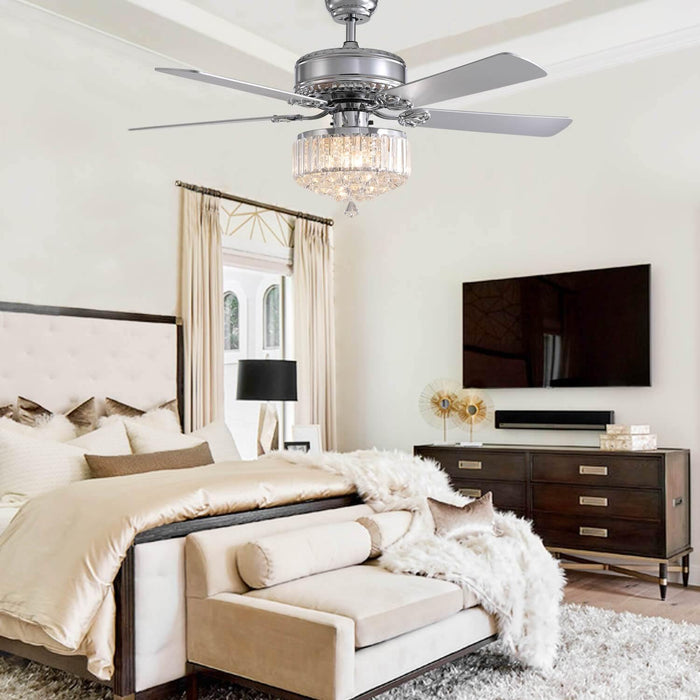 Crystal Ceiling Fan with Chrome-Plated Wood Blades For Bedroom