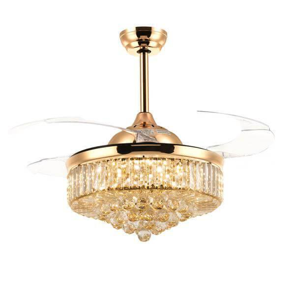 Crystal Fandelier with Dimmable Lights and Transparent Blades 36 inch Gold - 7PM LIGHTING