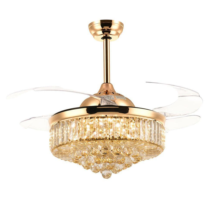 Crystal Fandelier with Dimmable Lights and Retractable Blades Gold