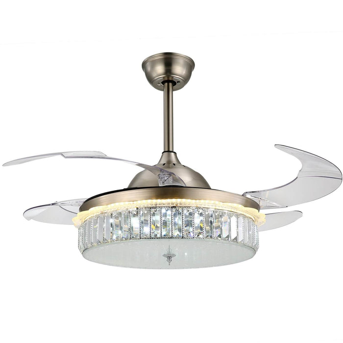 Crystal Fandelier with LED and Retractable Blades