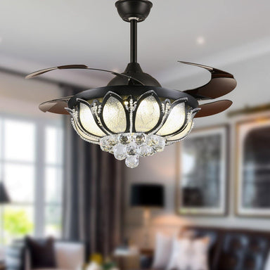 "Invisible Crystal Fan with Dimmable Led Lights, 42"" Black"