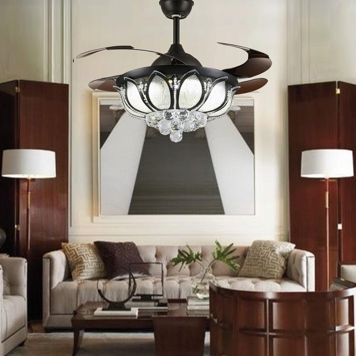 "Invisible Crystal Fan with Dimmable Led Lights, 42"" Black - Living room"