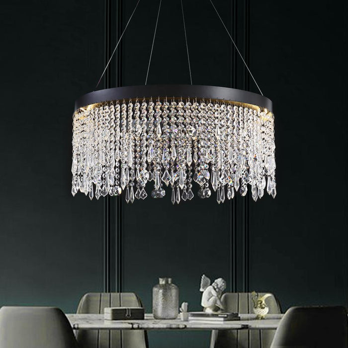 Crystal Raindrop Round Chandelier