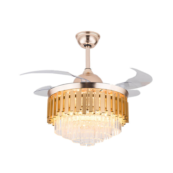 Crystal Retractable Chandelier Fan with LEDs
