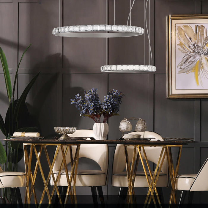 Crystal Round Pendant Light Silver
