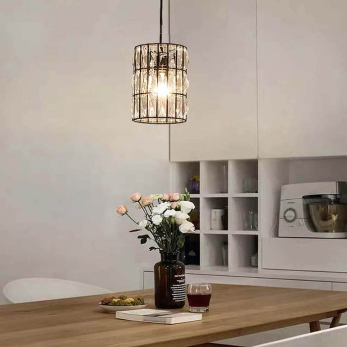 Cylinder Crystal Hanging Light For Dining Room