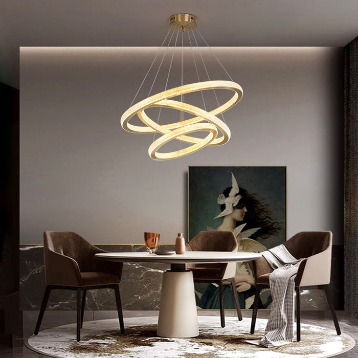 DIY Gold Ring Pendant Light For Dining Room