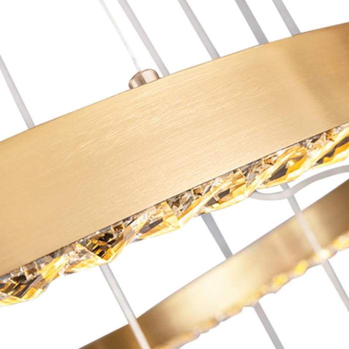 Detials For Crystal Gold Ring Pendant Light