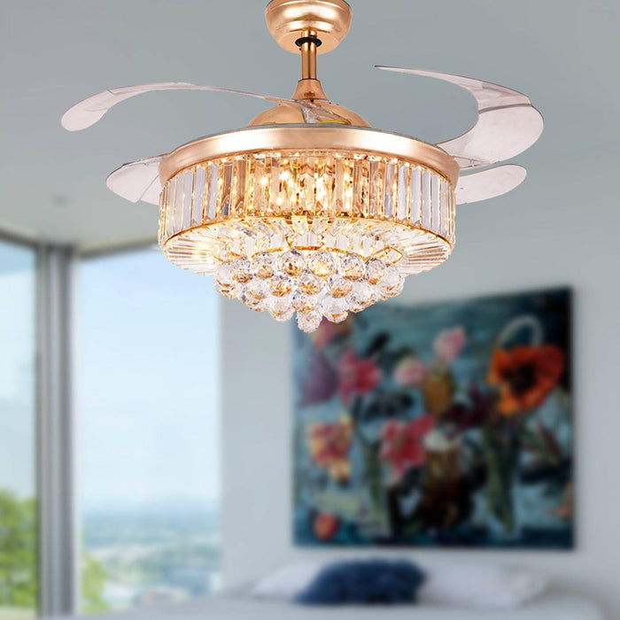 "42"" Retractable Crystal Chandelier Ceiling Fan with 4 Blades Gold/Chrome - 7PM LIGHTING"