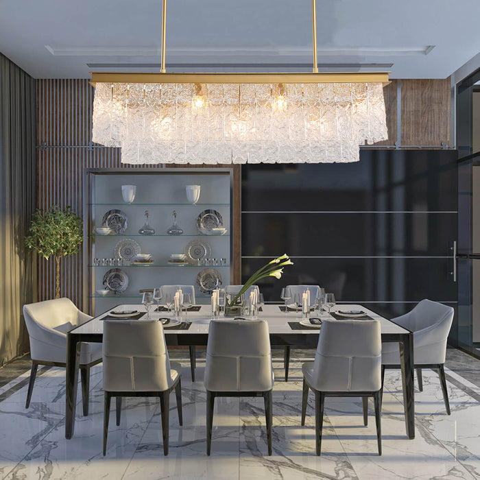Dining Room Rectangle Crystal Chandelier Gold