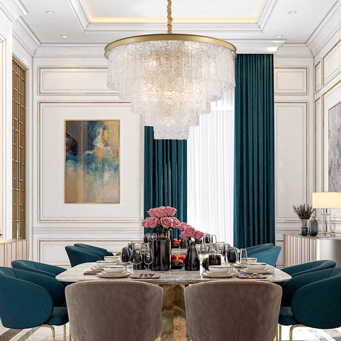 Dining Room Round Gold Crystal Chandelier