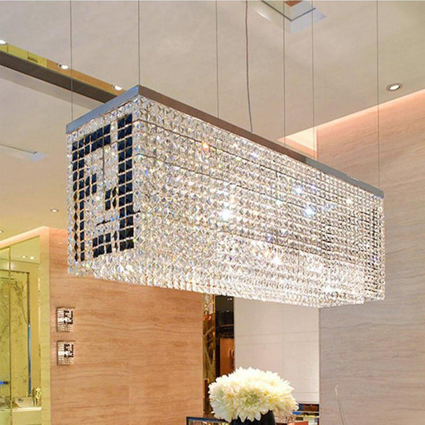 Double F Rectangle Crystal Chandelier Pendant Light