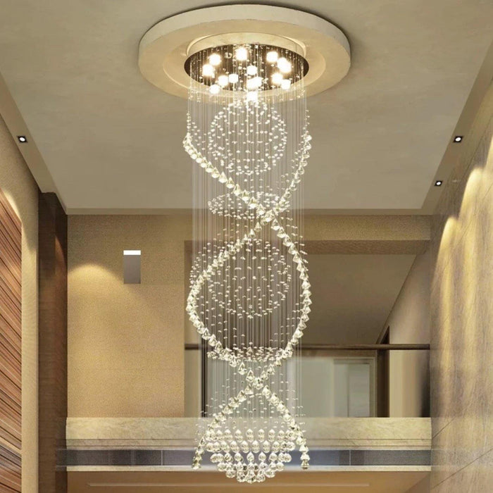 Double Spiral Crystal Chandelier with Three Spheres - Living room